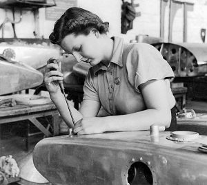 Woman assembling an oil tank for a Beaufort bomber